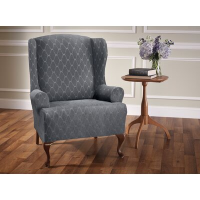 T-Cushion Wingback Slipcover Upholstery: Gray