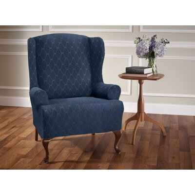 T-Cushion Wingback Slipcover Upholstery: Navy