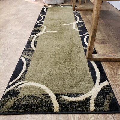 Hinson Contemporary Arches French Border Green/Black Area Rug Rug Size: Runner 111 x 611