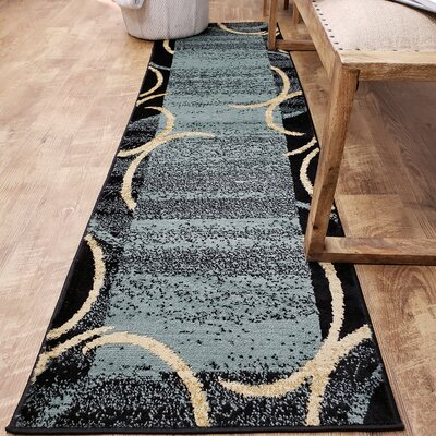 Hinson Contemporary Arches French Border Ocean Blue/Black Area Rug Rug Size: Runner 111 x 611