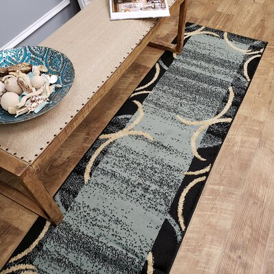 Hinson Contemporary Arches French Border Ocean Blue/Black Area Rug Rug Size: Runner 27 x 10