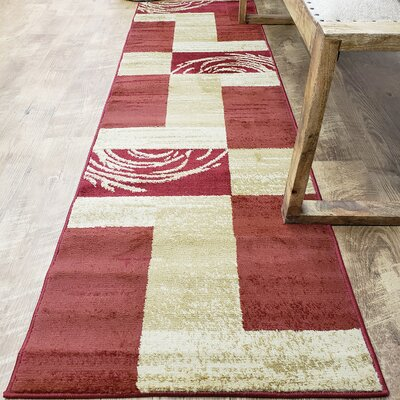 Hinson Boxes Red Area Rug Rug Size: Runner 27 x 10
