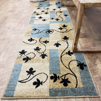 Hinson Leaf Boxes Blue/Light Brown Area Rug Rug Size: Runner 111 x 611