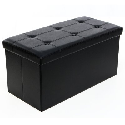 Kiley Folding Storage Ottoman Upholstery: Black