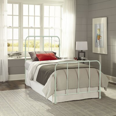 Collin Complete Kids Bed with Metal Duo Panel Finish: Mint Green, Size: Twin