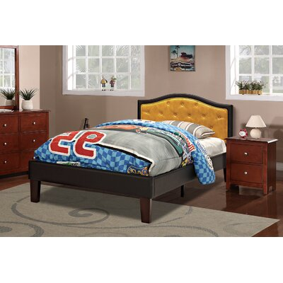 Baley PU Upholstered Twin Bed Frame Color: Espresso/Citrus