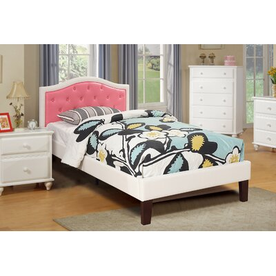 Baley PU Upholstered Twin Bed Frame Color: White/Pink