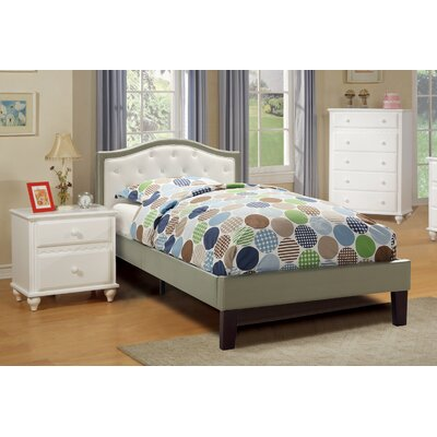 Baley PU Upholstered Twin Bed Frame Color: White/Silver