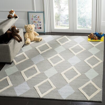 Claro Diamonds Hand-Tufted Gray Area Rug Rug Size: Rectangle 6 x 9