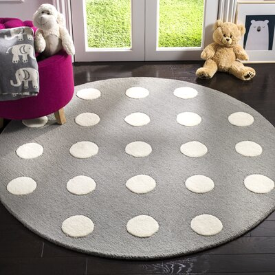 Claro Polka Dots Hand-Tufted Gray/Ivory Area Rug Rug Size: Round 5