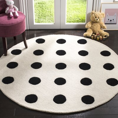 Claro Polka Dots Hand-Tufted Ivory/Black Area Rug Rug Size: Round 5