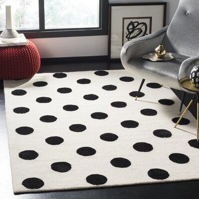 Claro Polka Dots Hand-Tufted Ivory/Black Area Rug Rug Size: Rectangle 4 x 6