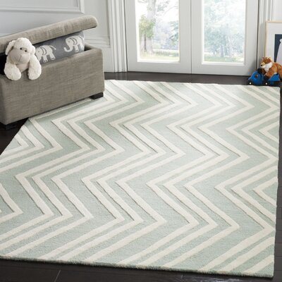Claro Wave Hand-Tufted Mint/Ivory Area Rug Rug Size: Runner 26 x 8