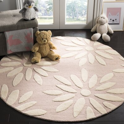 Claro Daisy Hand-Tufted Pink/Ivory Area Rug Rug Size: Round 5'