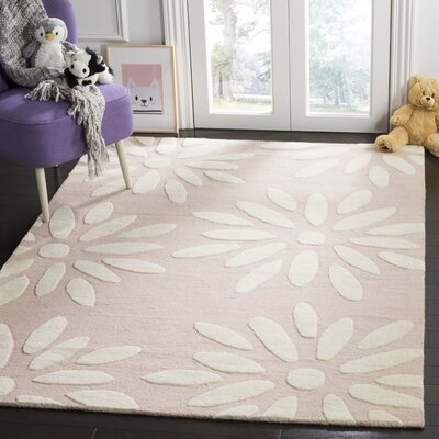 Claro Daisy Hand-Tufted Pink/Ivory Area Rug Rug Size: Rectangle 4 x 6