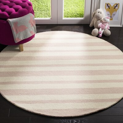 Claro Stripe Hand-Tufted Pink/Ivory Area Rug Rug Size: Round 5