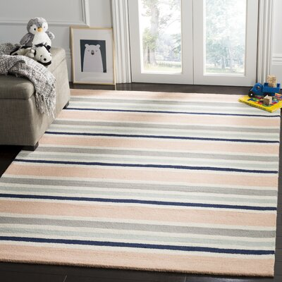 Claro Multi Stripe H-Tufted  Area Rug Rug Size: Square 5