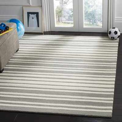 Claro Barcode Hand-Tufted Gray Area Rug Rug Size: Rectangle 8 x 10