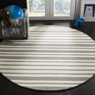 Claro Barcode Hand-Tufted Gray Area Rug Rug Size: Round 5