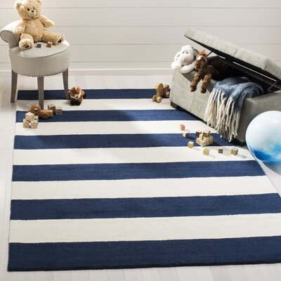 Claro Stripe Hand-Tufted Navy/Ivory Area Rug Rug Size: Rectangle 5 x 7