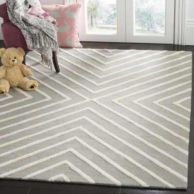 Claro X Pattern H-Tufted Gray Area Rug Rug Size: Rectangle 3 x 5