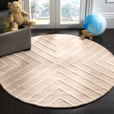 Claro X Pattern Hand-Tufted Pink/Ivory Area Rug Rug Size: Round 5
