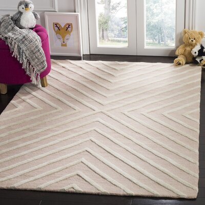 Claro X Pattern Hand-Tufted Pink/Ivory Area Rug Rug Size: Rectangle 4 x 6