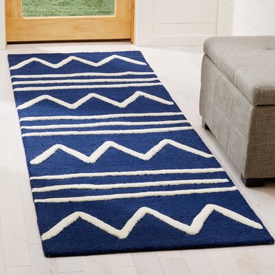Claro Zigzag Hand-Tufted Navy Area Rug Rug Size: Runner 26 x 8
