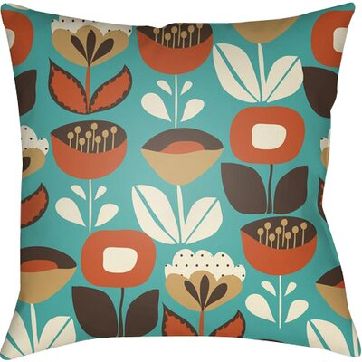Arbor Lake Flower Indoor Throw Pillow Size: 22 H x 22 W x 5 D, Color: Turquoise