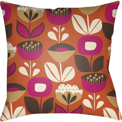 Arbor Lake Flower Indoor Throw Pillow Size: 18 H x 18 W x 4 D, Color: Orange