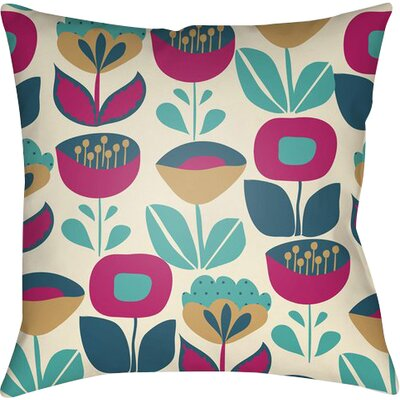 Arbor Lake Flower Indoor Throw Pillow Size: 18 H x 18 W x 4 D, Color: Cream