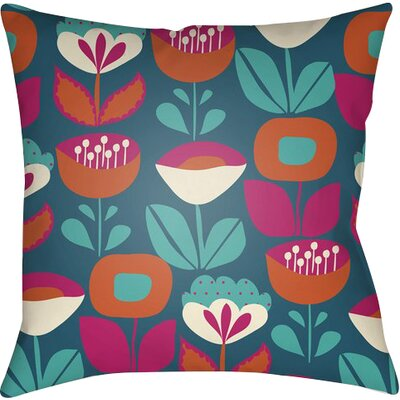 Arbor Lake Flower Indoor Throw Pillow Size: 22 H x 22 W x 5 D, Color: Blue