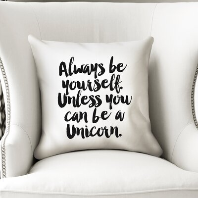 Alkes Unicorn Throw Pillow Size: 18 x 18