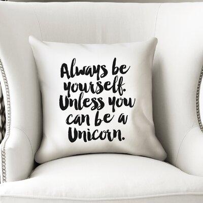 Alkes Unicorn Throw Pillow Size: 18 x 18