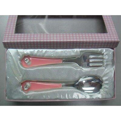 Bate Booties 2 Piece Flatware Set Color: Pink HBEE8692 43546311