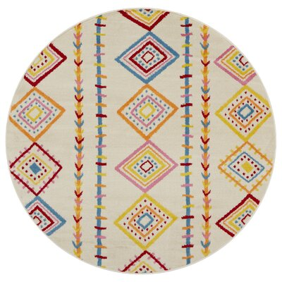 Carlwirtz Cream/Orange/Yellow Area Rug Rug Size: Round 48