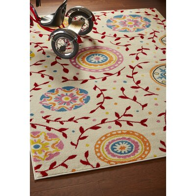 Carlwirtz Cream/Red/Pink Area Rug Rug Size: Rectangle 36 x 56