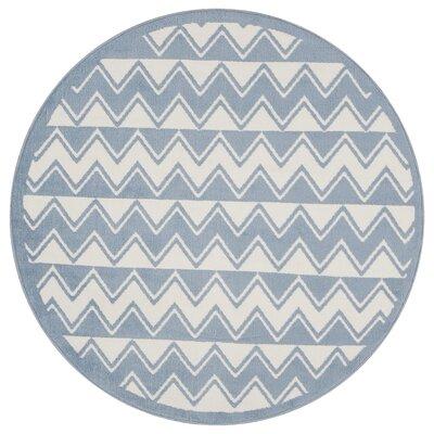 Carlwirtz White/Light Blue Area Rug Rug Size: Round 48