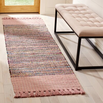 Abner Hand-Woven Pink/Gray Area Rug Rug Size: Runner 23 x 8