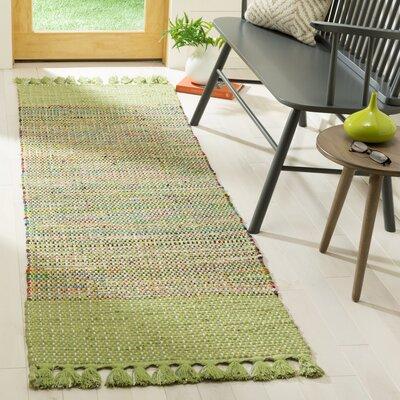 Abner Hand-Woven Green/Gray Area Rug Rug Size: Runner 23 x 8