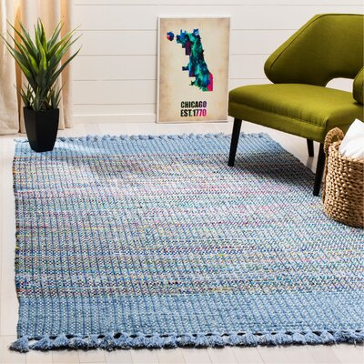 Abner Hand-Woven Blue/Gray Area Rug Rug Size: Rectangle 5 x 8