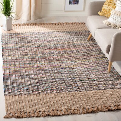 Abner Hand-Woven Beige/Gray Area Rug Rug Size: Rectangle 5 x 8
