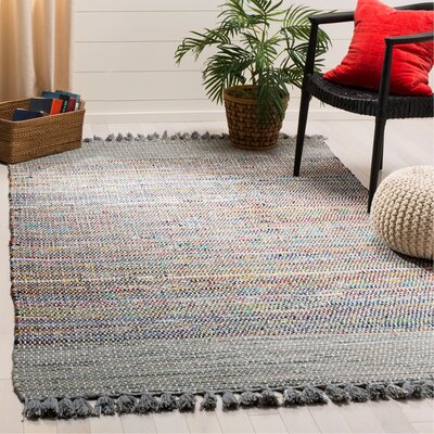 Abner Hand-Woven Gray/Yellow Area Rug Rug Size: Rectangle 5 x 8