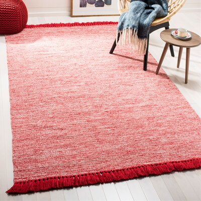Zyra Hand-Woven Red/Gray Area Rug Rug Size: Rectangle 3 x 5