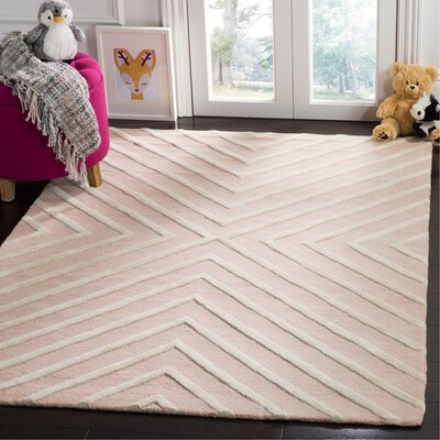 Claro X Pattern Hand-Tufted Pink/Ivory Area Rug Rug Size: Rectangle 5 x 7