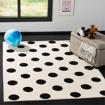 Claro Polka Dots Hand-Tufted Ivory/Black Area Rug Rug Size: Rectangle 5 x 7