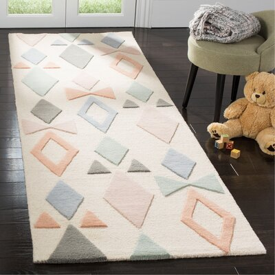 Claro Hand-Tufted Ivory Area Rug Rug Size: Runner 26 x 8