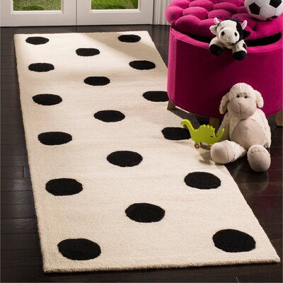 Claro Polka Dots Hand-Tufted Ivory/Black Area Rug Rug Size: Runner 26 x 8