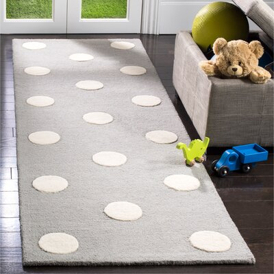 Claro Polka Dots Hand-Tufted Gray/Ivory Area Rug Rug Size: Runner 26 x 8