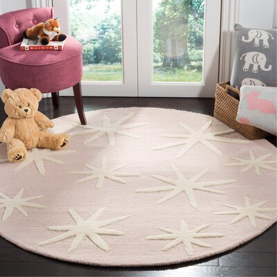 Claro Starbursts Hand-Tufted Pink Area Rug Rug Size: Round 5
